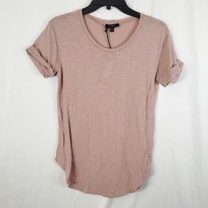 BLACK ORCHID Cuffed Short Sleeve Dusty Pink Shirt